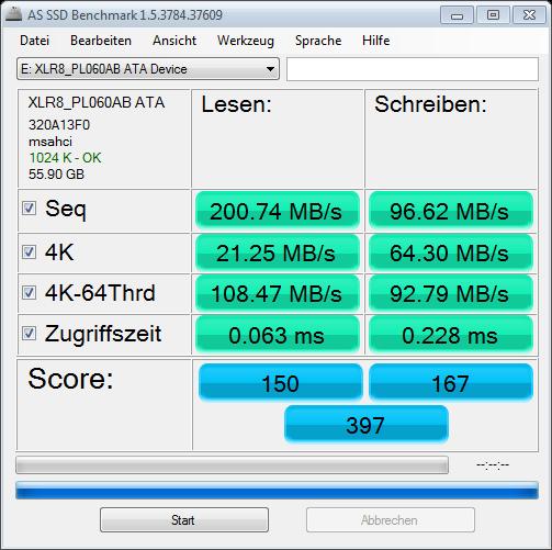 AS SSD Benchmark von der XLR8